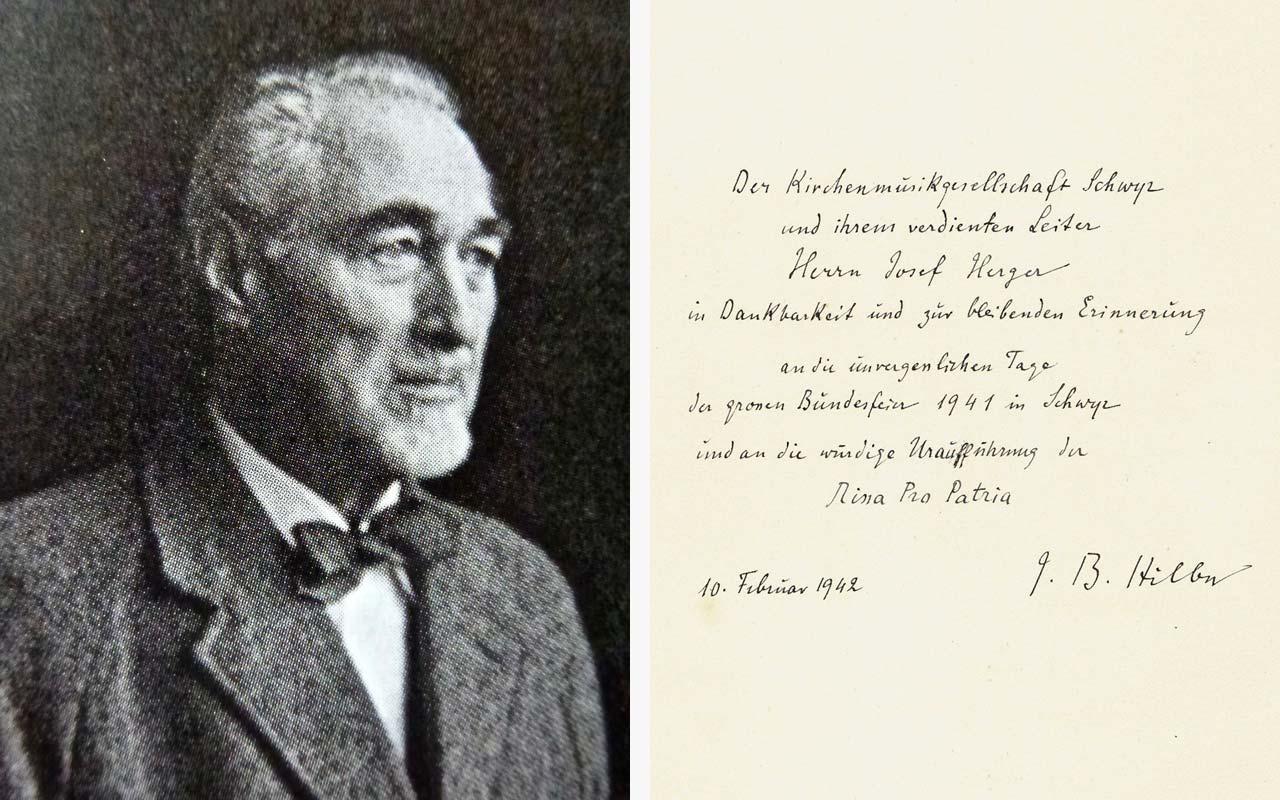 Schreiben von J.B. Hilber zu grossen Bundesfeier 1941 in Schwyz